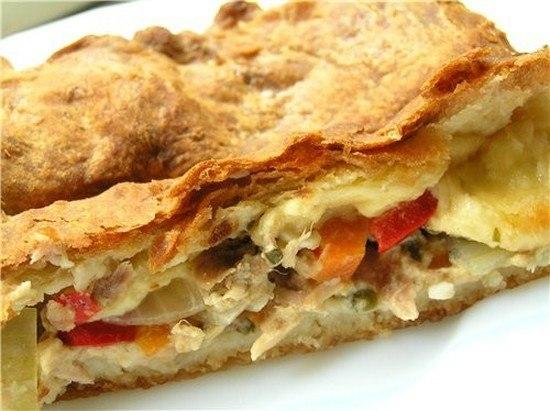 Пирог с фаршем и картошкой в слоеном тесте рецепт с в духовке