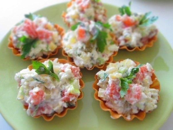 Салаты в тарталетках с красной рыбой рецепты с фото